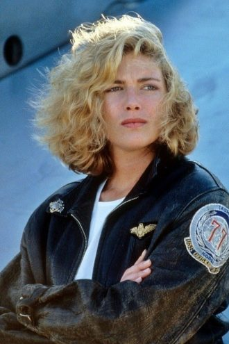 Kelly McGillis Top Gun Black Leather Bomber Jacket