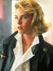 Kelly McGillis Top Gun Black Leather Bomber Jacket