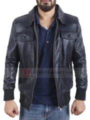 Singer Noel Gallagher Leather Jacket Black