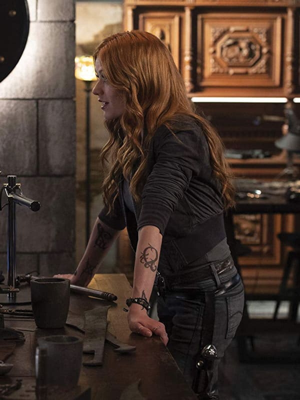 Shadowhunter Katherine McNamara Grey Leather Jacket
