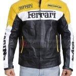 Mens Ferrari Leather Motorcycle Jacket Yellow