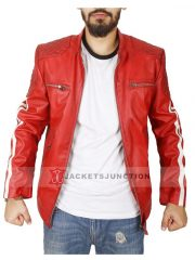 Mens Cafe Racer Leather Biker Jacket Red with White Stripes