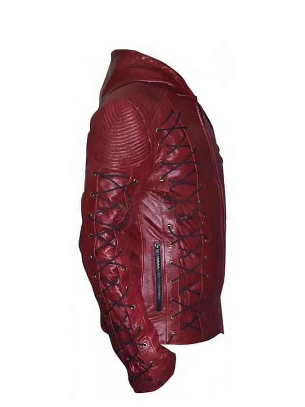 Arrow Season 3 Colton Haynes Hooded Leather Jacket