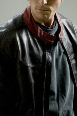 Batman Dark Knight Christian Bale Leather Biker Jacket Black 01
