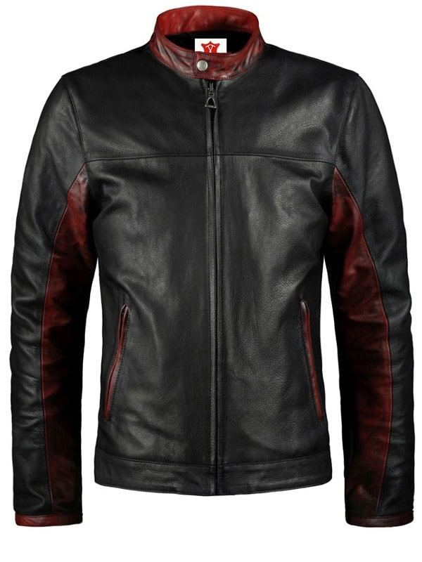 Batman Dark Knight Christian Bale Leather Biker Jacket Black 02