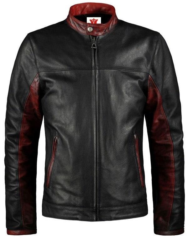 Batman Dark Knight Christian Bale Leather Biker Jacket Black 02