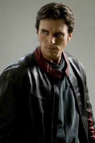 Batman Dark Knight Christian Bale Leather Biker Jacket Black
