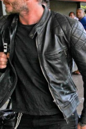 Brazil Airport David Beckham Leather Jacket Black 01