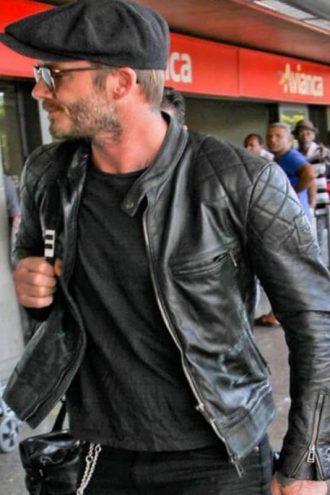 Brazil Airport David Beckham Leather Jacket Black 01
