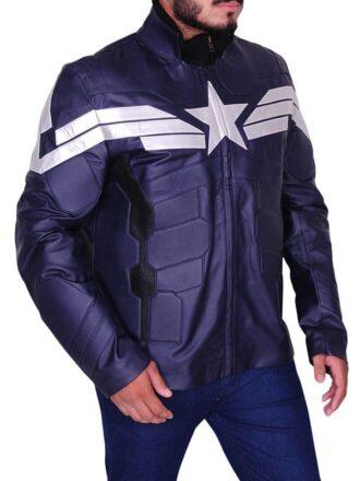 Captain America Chris Evans Winter Soldier Leather Jacket Blue 01