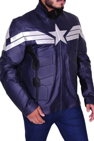 Captain America Chris Evans Winter Soldier Leather Jacket Blue 01