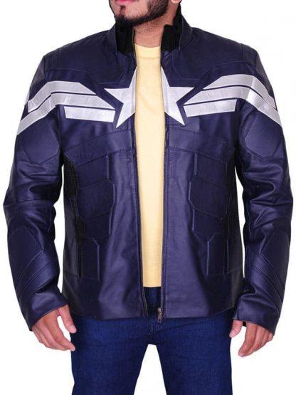 Captain America Chris Evans Winter Soldier Leather Jacket Blue 02