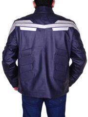 Captain America Chris Evans Winter Soldier Leather Jacket Blue 03