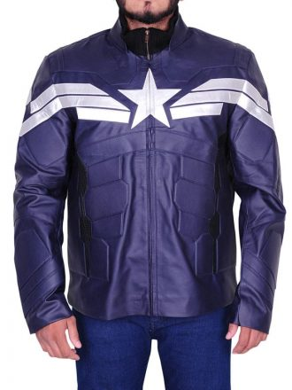 Captain America Chris Evans Winter Soldier Leather Jacket Blue
