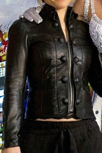 Chloe Sullivan Smallville Allison Mack Leather Jacket Black 01