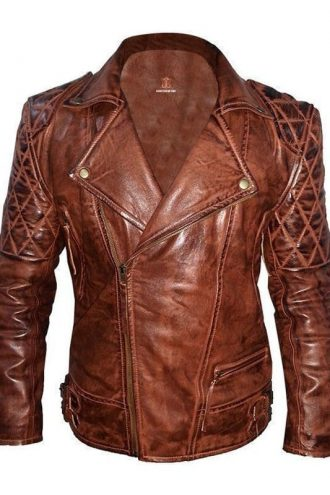 Mens Classic Diamond Vintage Leather Biker Jacket Brown Front