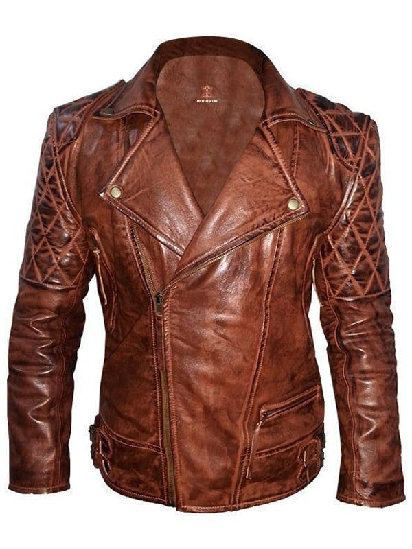 Womens Classic Diamond Vintage Leather Biker Jacket Brown Front