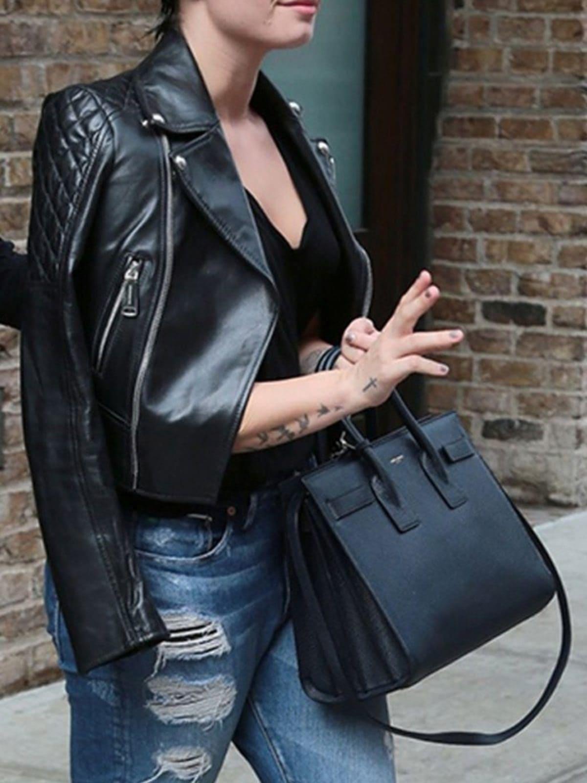Demi Lovato Leather Biker Jacket Black 01