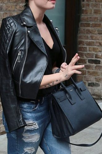 Demi Lovato Leather Biker Jacket Black 01