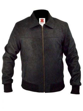 Die Hard 5 Jai Courtney Leather Bomber Jacket Black 03