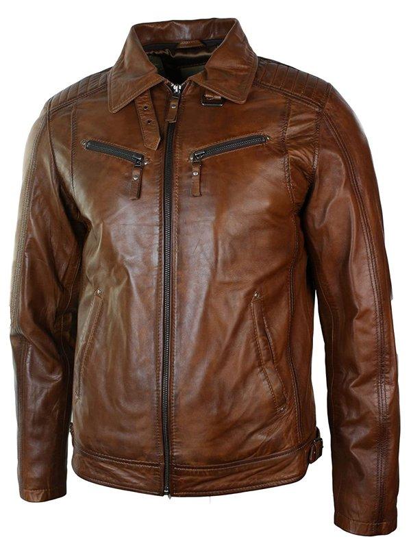 Distressed Leather Biker Jacket Collar
