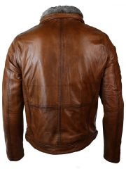 Distressed Leather Biker Jacket Fur Collar