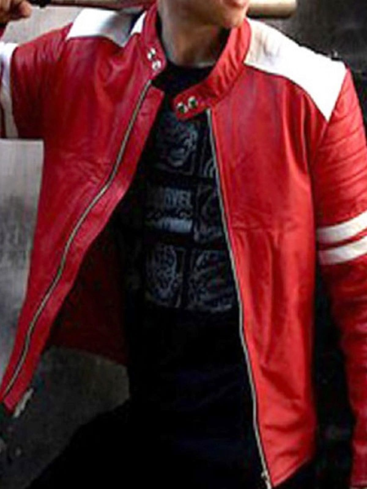 Fight Club Brad Pitt Leather Coat Jacket Red and White Strip 01