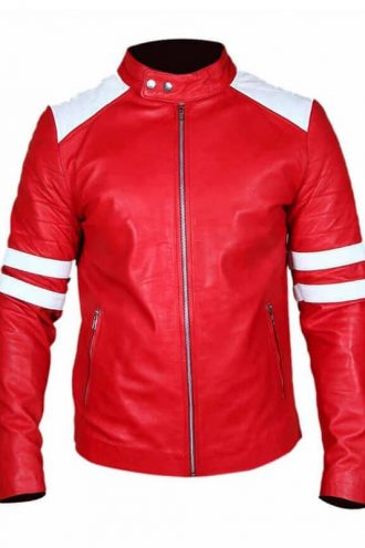 Fight Club Brad Pitt Leather Coat Jacket Red and White Strip 02
