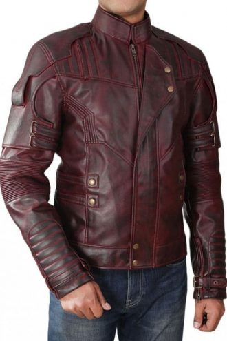 Guardians Of The Galaxy 2 Chris Pratt Leather Jacket Red Maroon 02