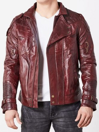 Guardians Of The Galaxy 2 Chris Pratt Leather Jacket Red Maroon 1