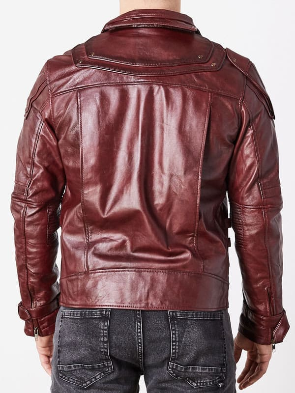Guardians Of The Galaxy 2 Chris Pratt Leather Jacket Red Maroon 3