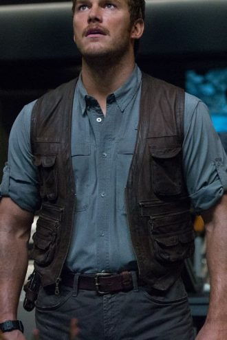 Jurassic World Chris Pratt Owen Grady Leather Vest