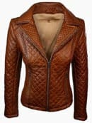 Tan Brown Quilted Womens Fashion Leather Jacket Front