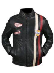 Le Mans Steve McQueen Leather Jacket Black Front