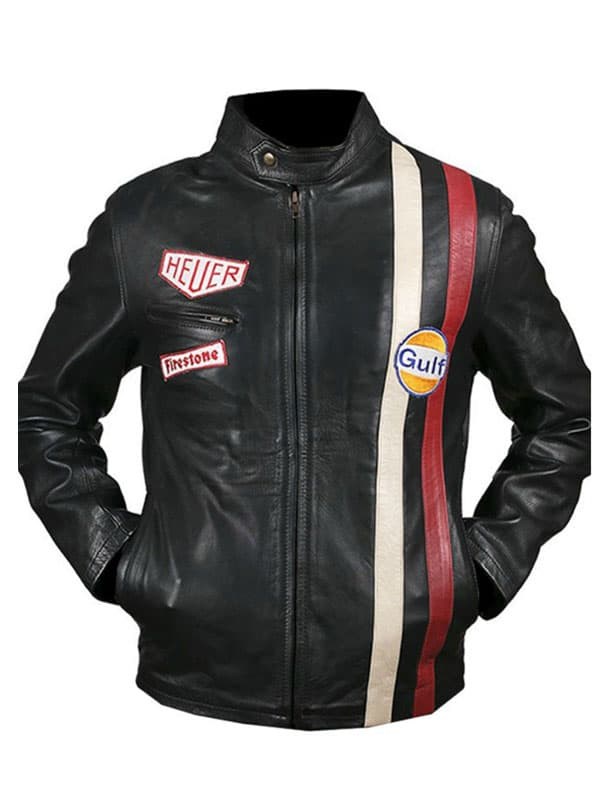 Le Mans Steve McQueen Leather Jacket Black Front