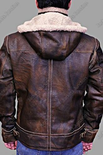 Men Aviator Hooded Leather Bomber Jacket Brown Back