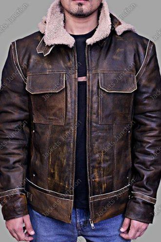 Men Aviator Hooded Leather Bomber Jacket Brown Front