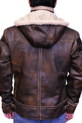 Men Aviator Leather Bomber Jacket with Fur Hood Brown Back