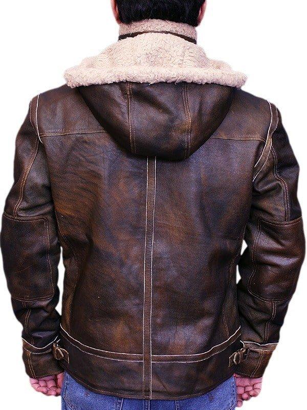 Men Aviator Leather Bomber Jacket with Fur Hood Brown Back