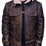 Men Aviator Leather Bomber Jacket with Fur Hood Brown