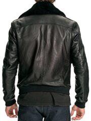 Mens Air Force Leather Bomber Jacket Black Fur Collar Black Back