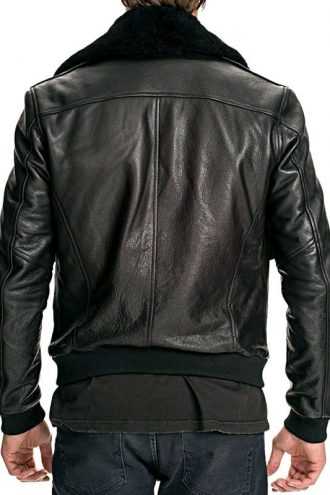 Mens Air Force Leather Bomber Jacket Black Fur Collar Black Back