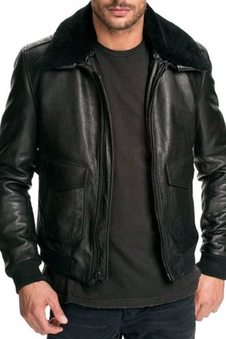 Mens Air Force Leather Bomber Jacket Black Fur Collar Black Front