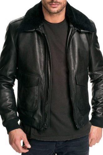 Mens Air Force Leather Bomber Jacket Black Fur Collar Black Front