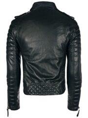 Mens Boda Skins Kay Michaels Leather Biker Jacket Black Back