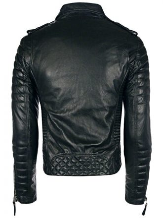 Mens Boda Skins Kay Michaels Leather Biker Jacket Black Back