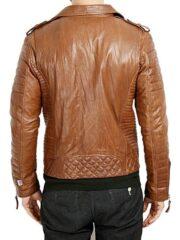 Mens-Boda-Quilted-Leather-Biker-Jacket-Tan-BACK