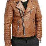 Mens Boda Quilted Leather Biker Jacket Tan FRONT