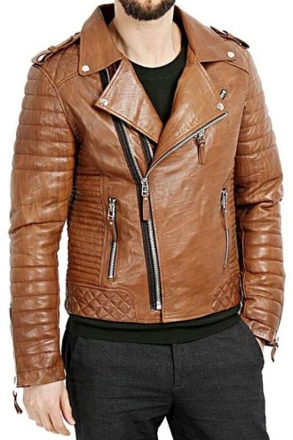 Mens Diamond Quilted Leather Biker Jacket Tan Brown