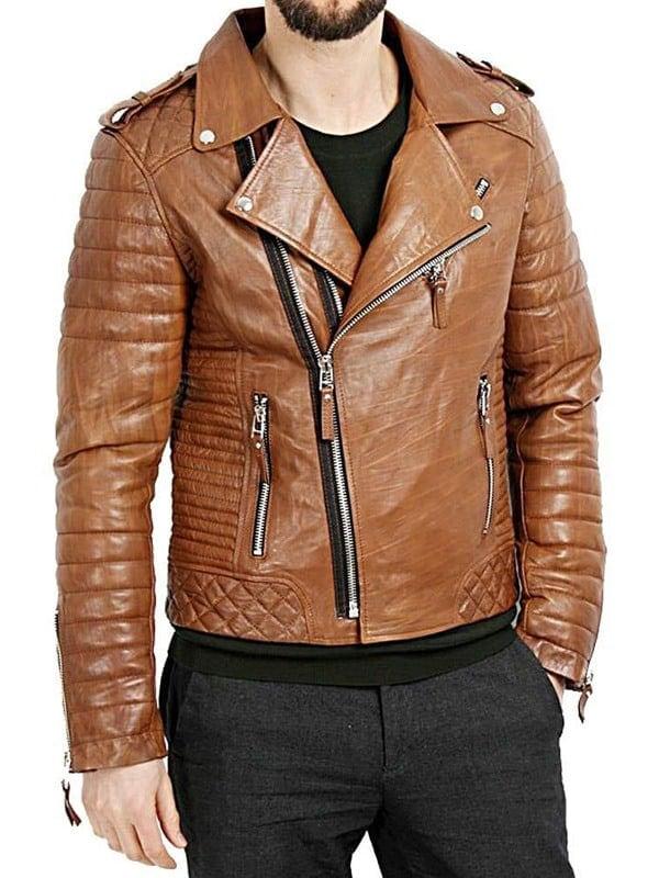 Mens Boda Skins Kay Michaels Leather Biker Jacket Tan